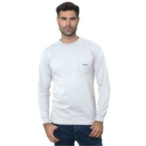 7e418898 Bayside Unisex Union-Made Long-Sleeve Pocket Crew T-Shirt