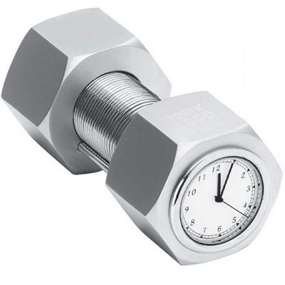 Metal nut and bolt clock with card holder