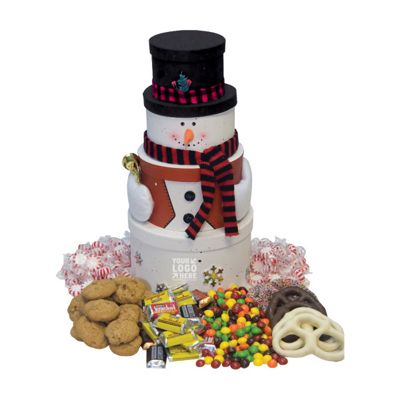Snowman Tower with Chocolate Candy, Cookies, Pretzels, Mints